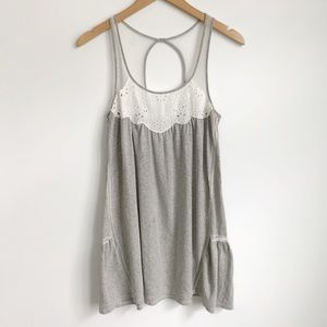 Eloise ANTHRO Lace Tunic Tank Top Keyhole Gray S